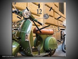 Wandklok Schilderij Scooter, Motor | Groen, Bruin, Crème