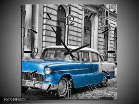 Wandklok Schilderij Oldtimer, Auto   Grijs, Blauw, Zwart