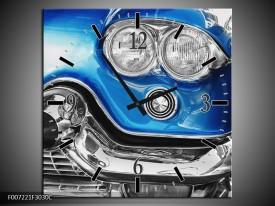 Wandklok Schilderij Oldtimer, Auto | Grijs, Blauw, Zilver