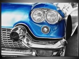 Glas Schilderij Oldtimer, Auto   Grijs, Blauw, Zilver