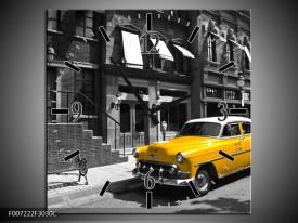 Wandklok Schilderij Oldtimer, Auto | Zwart, Wit, Geel
