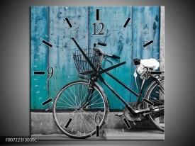 Wandklok Schilderij Fiets | Turquoise, Grijs