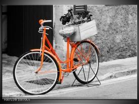 Glas Schilderij Fiets | Grijs, Oranje, Zwart
