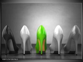 Glas Schilderij Schoenen, Vrouw | Grijs, Groen, Zwart