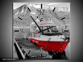 Wandklok Schilderij Boot, Bergen   Zwart, Wit, Rood
