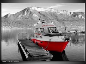 Glas Schilderij Boot, Bergen | Zwart, Wit, Rood