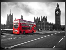 Glas Schilderij Engeland, London | Zwart, Wit, Rood
