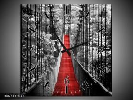 Wandklok Schilderij Brug, Natuur | Zwart, Wit, Rood