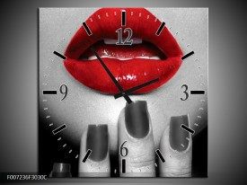 Wandklok Schilderij Lippen, Vrouw | Grijs, Rood