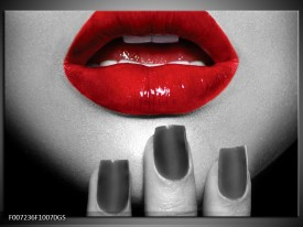Glas Schilderij Lippen, Vrouw | Grijs, Rood