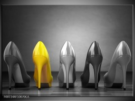 Glas Schilderij Schoenen, Vrouw | Grijs, Geel