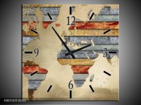 Wandklok Schilderij Wereldkaart | Grijs, Crème, Bruin