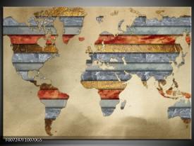 Glas Schilderij Wereldkaart   Grijs, Crème, Bruin