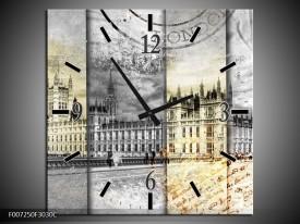 Wandklok Schilderij England, London   Grijs, Crème, Rood