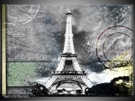 Glas Schilderij Parijs, Eiffeltoren | Grijs, Crème, Groen