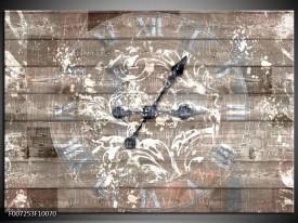 Canvas Schilderij Klok, Landelijk | Grijs, Crème, Bruin