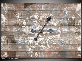 Glas Schilderij Klok, Landelijk | Grijs, Crème, Bruin