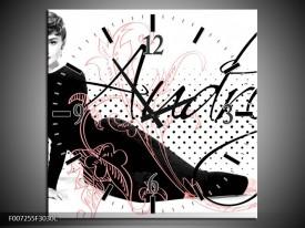 Wandklok Schilderij Audrey, Popart | Zwart, Wit, Rood