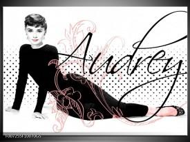 Glas Schilderij Audrey, Popart | Zwart, Wit, Rood