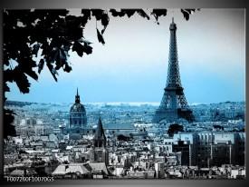 Glas Schilderij Parijs, Eiffeltoren | Grijs, Blauw