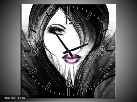Wandklok Schilderij Vrouw, Gezicht | Zwart, Wit, Paars