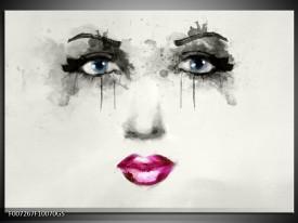 Glas Schilderij Vrouw, Gezicht | Zwart, Roze, Crème