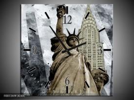 Wandklok Schilderij Vrijheidsbeeld, New York | Grijs, Crème
