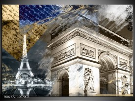 Glas Schilderij Frankrijk, Parijs | Grijs, Crème , Geel