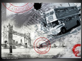 Glas Schilderij Engeland, London | Grijs, Crème , Rood