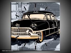Wandklok Schilderij Oldtimer, Auto | Grijs, Zwart, Geel