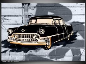 Glas Schilderij Oldtimer, Auto | Grijs, Zwart, Geel