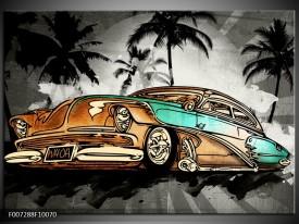Canvas Schilderij Oldtimer, Auto | Zwart, Wit, Oranje