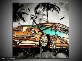 Wandklok Schilderij Oldtimer, Auto | Zwart, Wit, Oranje