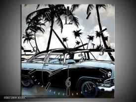 Wandklok Schilderij Oldtimer, Auto | Zwart, Wit, Blauw