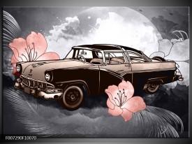 Canvas Schilderij Oldtimer, Auto | Grijs, Bruin, Roze
