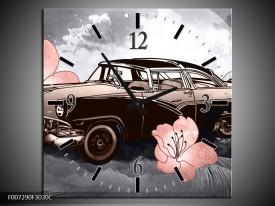 Wandklok Schilderij Oldtimer, Auto | Grijs, Bruin, Roze