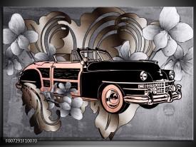 Canvas Schilderij Oldtimer, Auto   Grijs, Zwart
