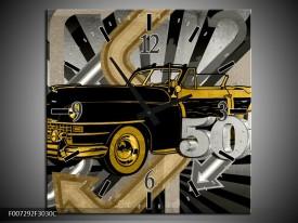 Wandklok Schilderij Oldtimer, Auto | Grijs, Geel