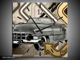 Wandklok Schilderij Oldtimer, Auto | Grijs, Goud