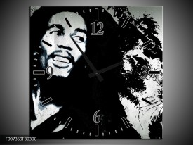 Wandklok Schilderij Bob Marley | Zwart, Wit