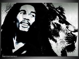 Glas Schilderij Bob Marley | Zwart, Wit