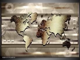 Canvas Schilderij Wereldkaart | Bruin, Goud