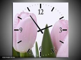 Wandklok Schilderij Tulpen, Bloemen | Roze, Wit