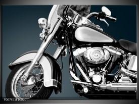 Canvas Schilderij Motor | Grijs, Zilver