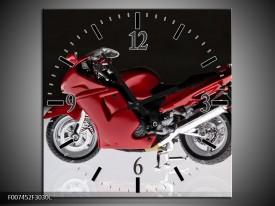 Wandklok Schilderij Motor | Zwart, Wit, Rood