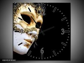 Wandklok Schilderij Masker, Modern | Zwart, Wit, Goud