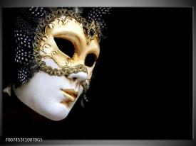 Glas Schilderij Masker, Modern | Zwart, Wit, Goud