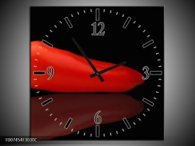 Wandklok Schilderij Keuken, Paprika | Rood, Zwart