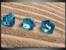 Glas Schilderij Zand, Stenen | Turquoise