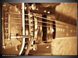Glas Schilderij Muziek | Goud, Bruin